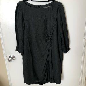 Zara Basic Dark Gray Twist Tie 3/4 Sleeve Dress XL